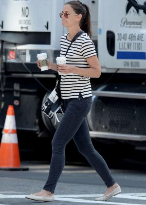 Katie Holmes in Jeans out for a walk in Manhattan