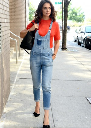 Katie Holmes in Denim Jumpsuit Out in NYC