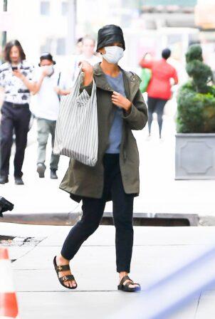 Katie Holmes - Seen wearing leather bucket hat in New York City