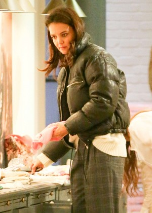 Katie Holmes Shopping on Madison Avenue in New York