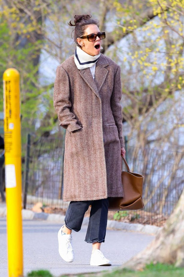 Katie Holmes walking around in New York City