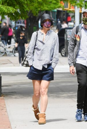 Katie Holmes - Wearing blue shorts and Uggs boots while out in SoHo