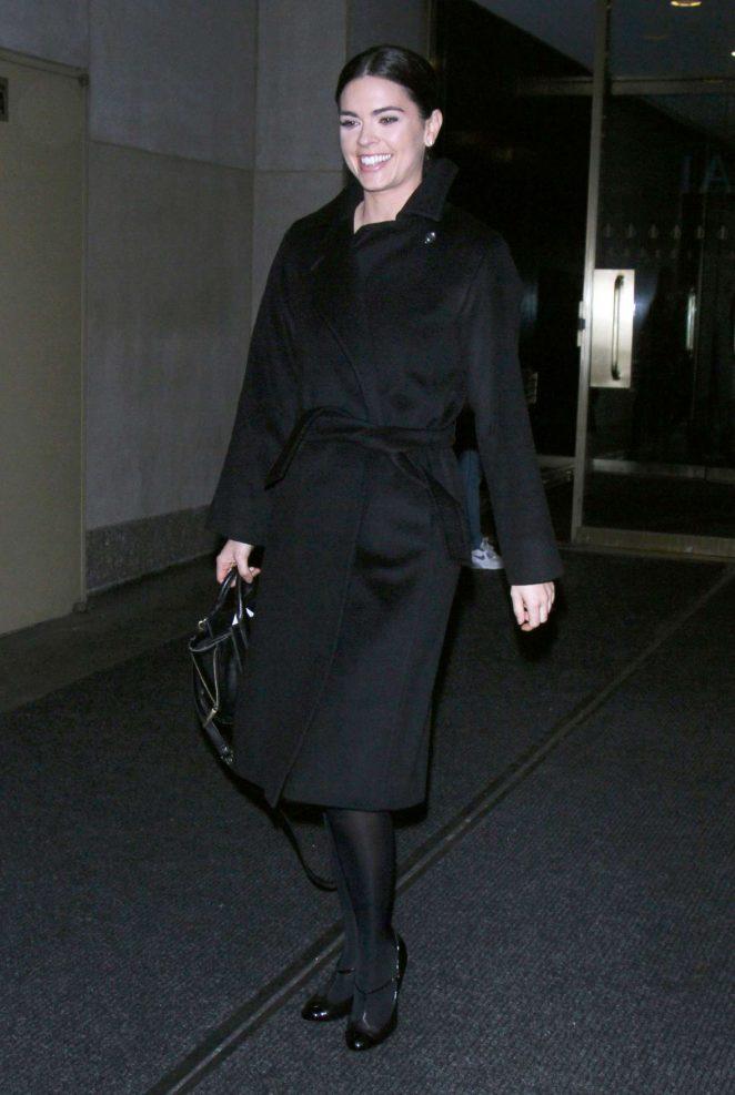 Katie Lee in Black Coat in New York City