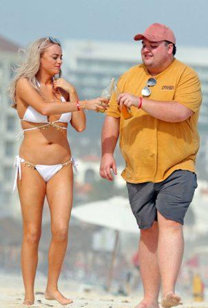 Katie McGlynn - In white bikini on the beach in Mexico