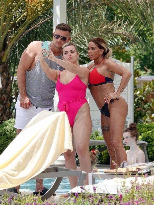 Katie Price - In bikini poolside at hotel in Turkey