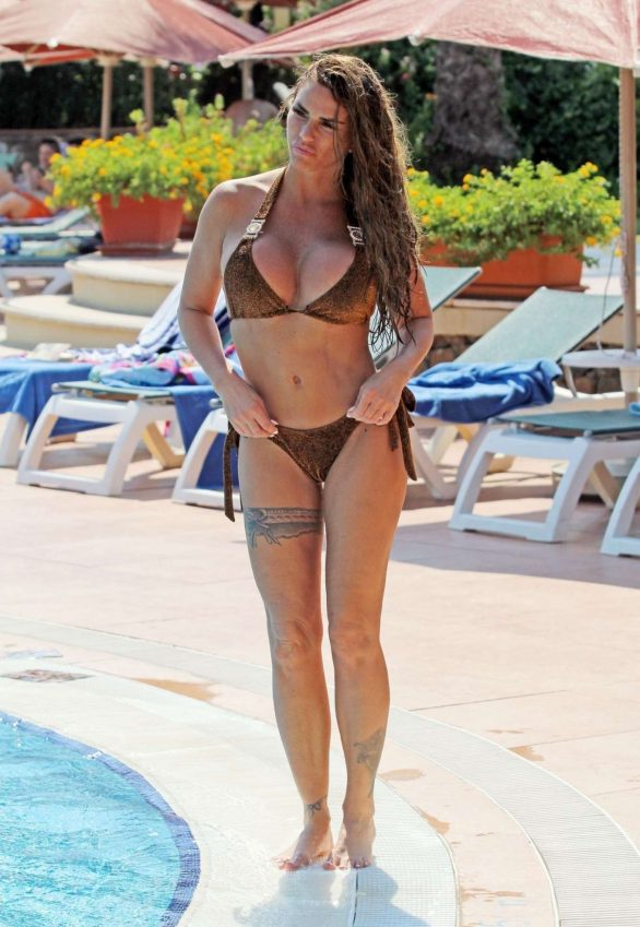 Katie Price in Brown Bikini in Istanbul