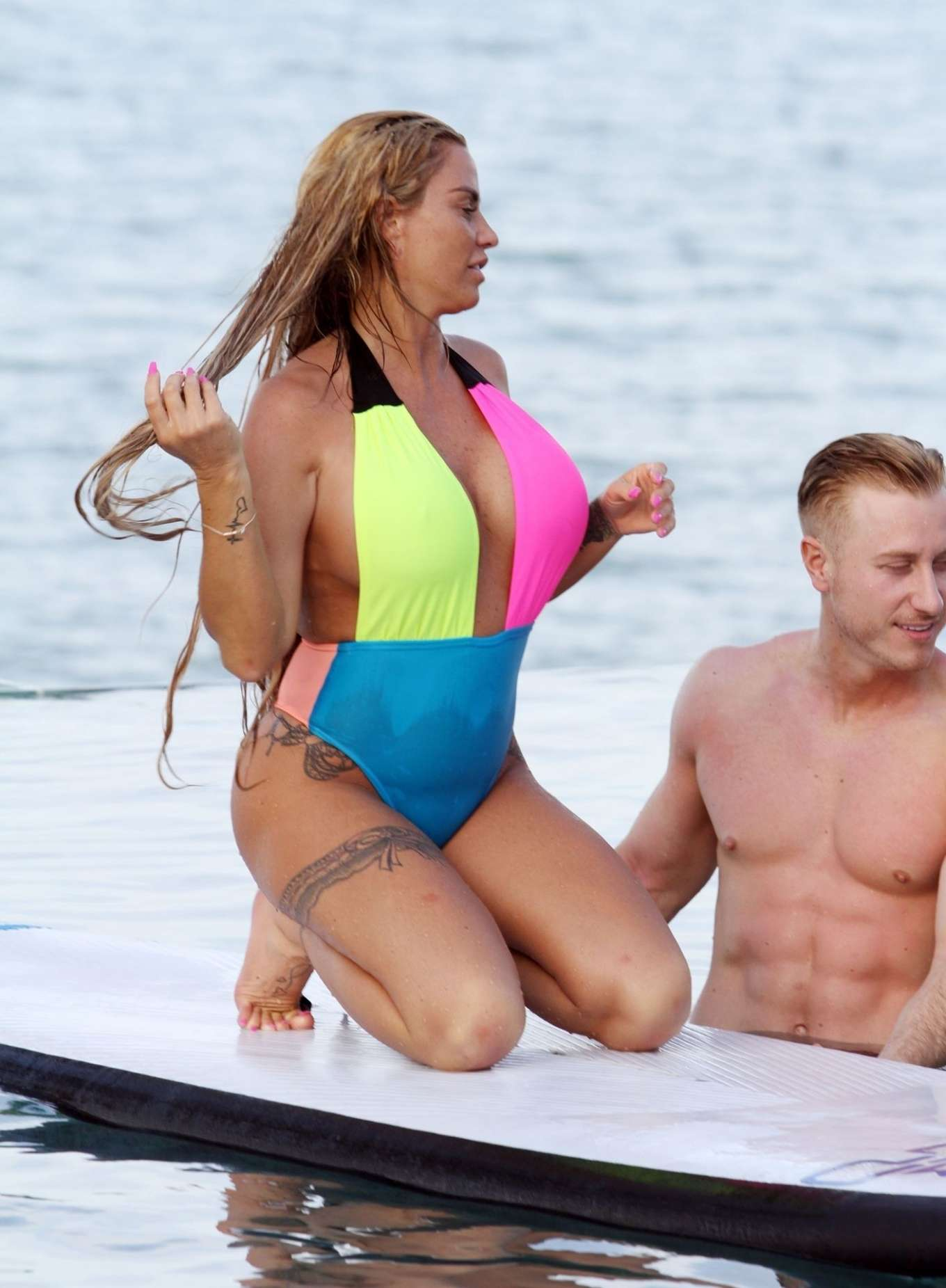 Katie Price 2019 : Katie Price in Colorful Swimsuit 2019 -02
