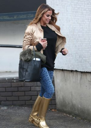 Katie Price in gold boots leaves ITV studios in London