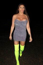 Katie Price in Mini Dress and Thigh High Boots - Night out in Chelsea