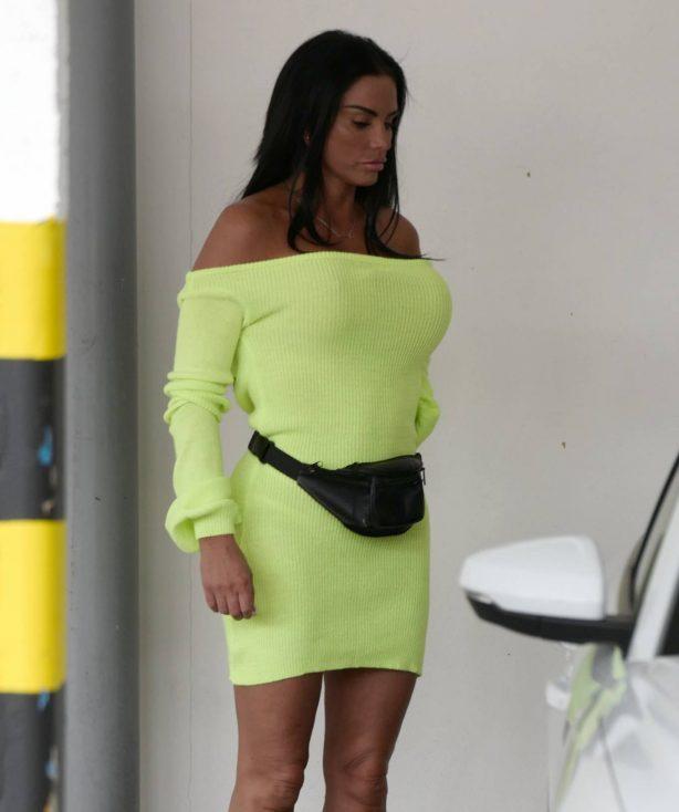 Katie Price - In neon yellow dress with her new boyfriend Carl Woods in Surrey
