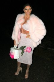 Katie Price in Pink Fur Coat - Night out in London