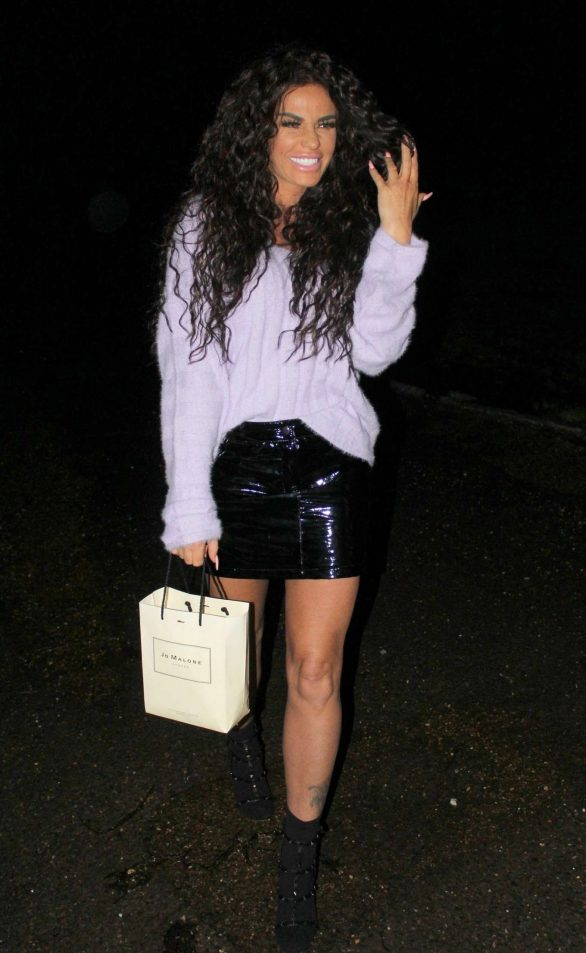 Katie Price returns home from a shopping trip and brought a little present along the way