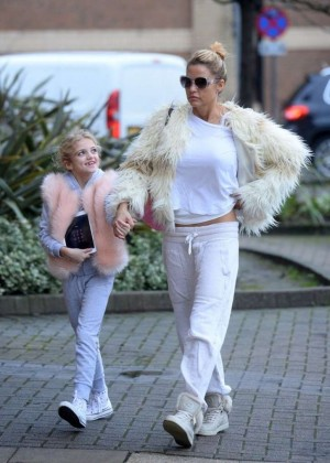 Katie Price with her daughter Princess out in Woking