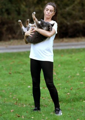 Katie Price with her dog at the park in Brighton