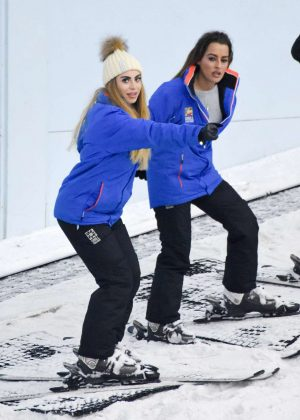 Katie Salmon gets a ski lesson in Manchester