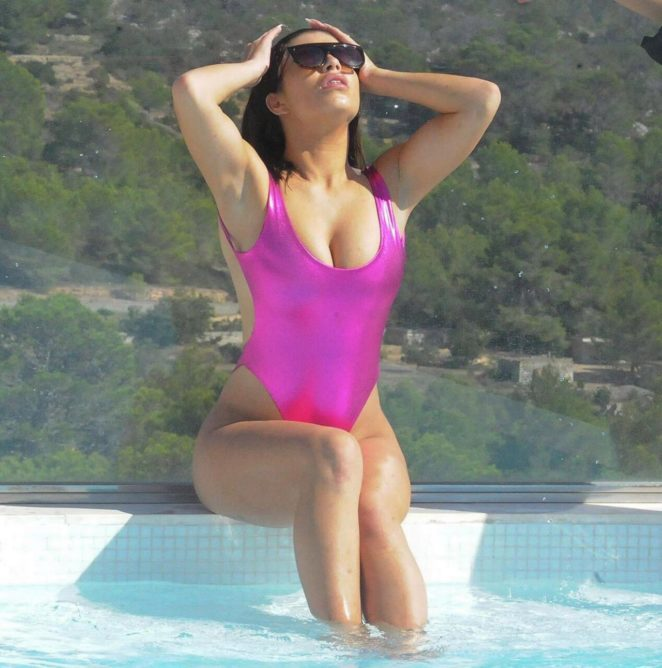 Katie Salmon in Pink Swimsuit in Tenerife