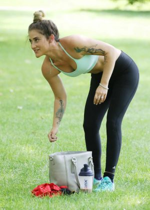 Katie Waissel in Tights and Sports Bra working out in London