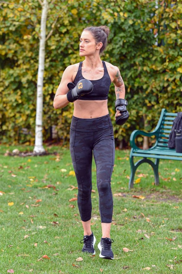 Katie Waissel - Works out at a Park in North London