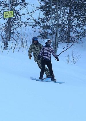 Katy Perry and Orlando Bloom - Snowboarding in Aspen