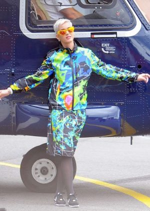 Katy Perry Boarding a Helicopter in London