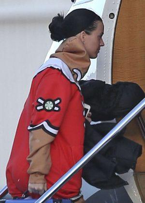 Katy Perry boarding a plane in Van Nuys