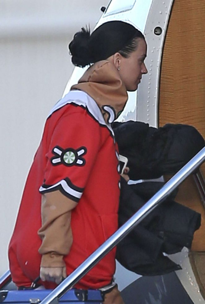 Katy Perry boarding a plane in Van Nuys