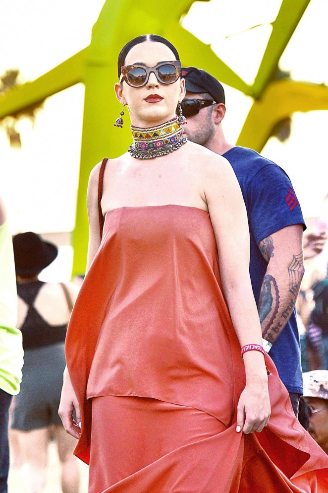 Katy Perry in Red Dress at Coachella Music Festival in Indio