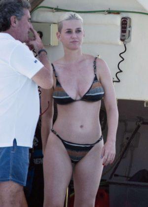 Katy Perry in Bikini on a yacht in Formentera