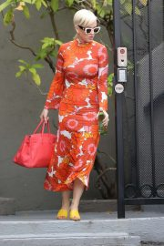 Katy Perry - In floral red dress out in LA