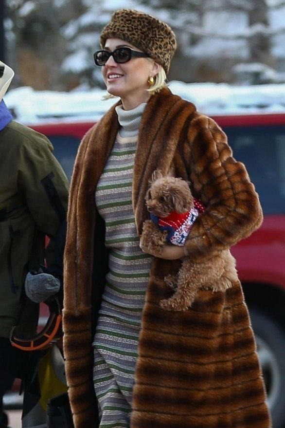 Katy Perry in Fur Coat - Out in Aspen