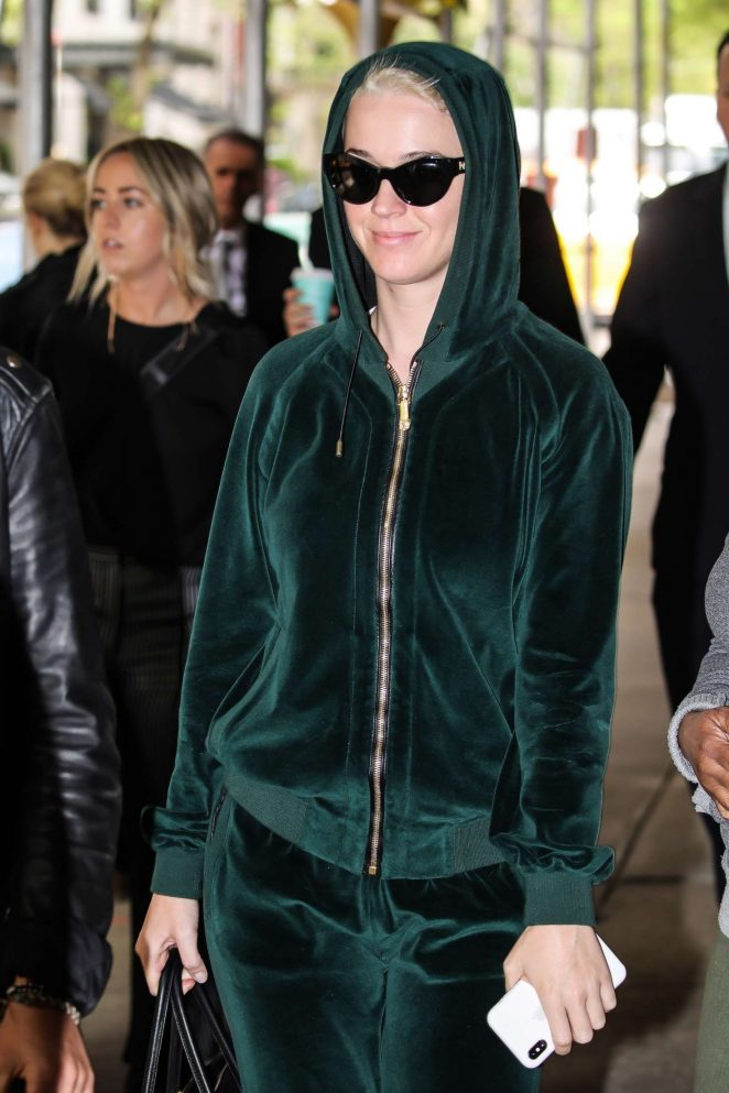 Katy Perry in Green Velour Tracksuit out in NY