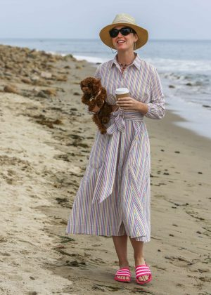 Katy Perry in Long Dress on a beach in Santa Barbara
