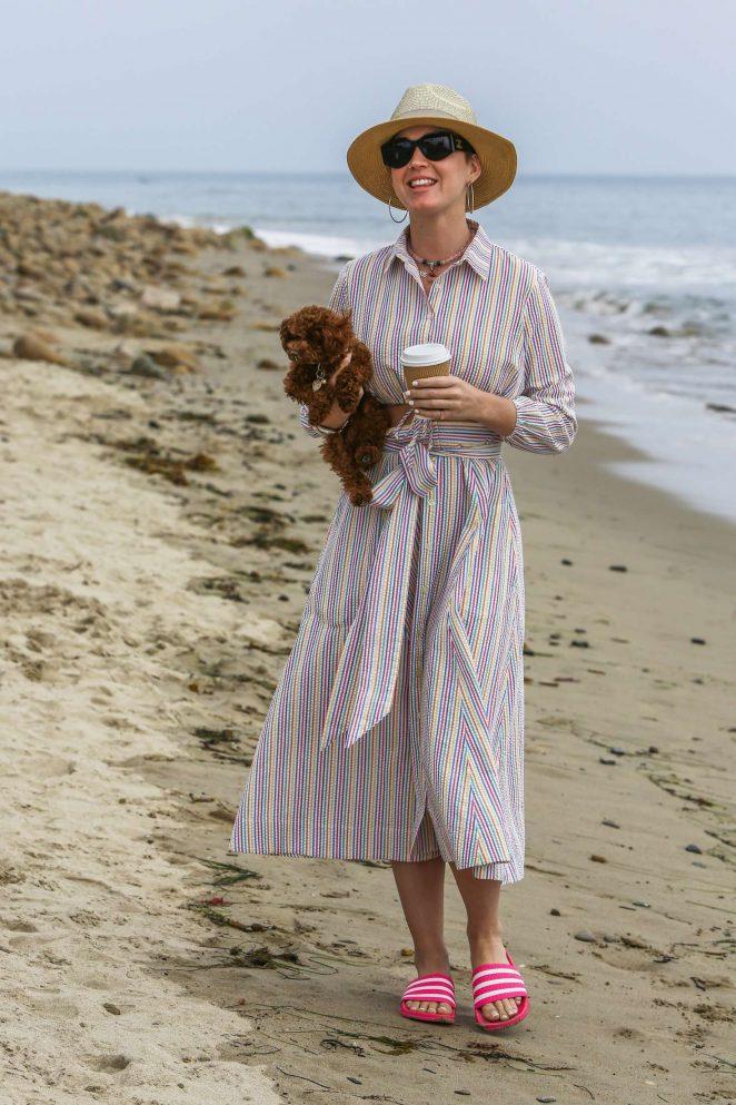 Katy Perry in Long Dress on a beach in Santa Barbara