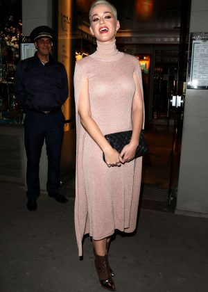Katy Perry in Pink Dress out in Paris