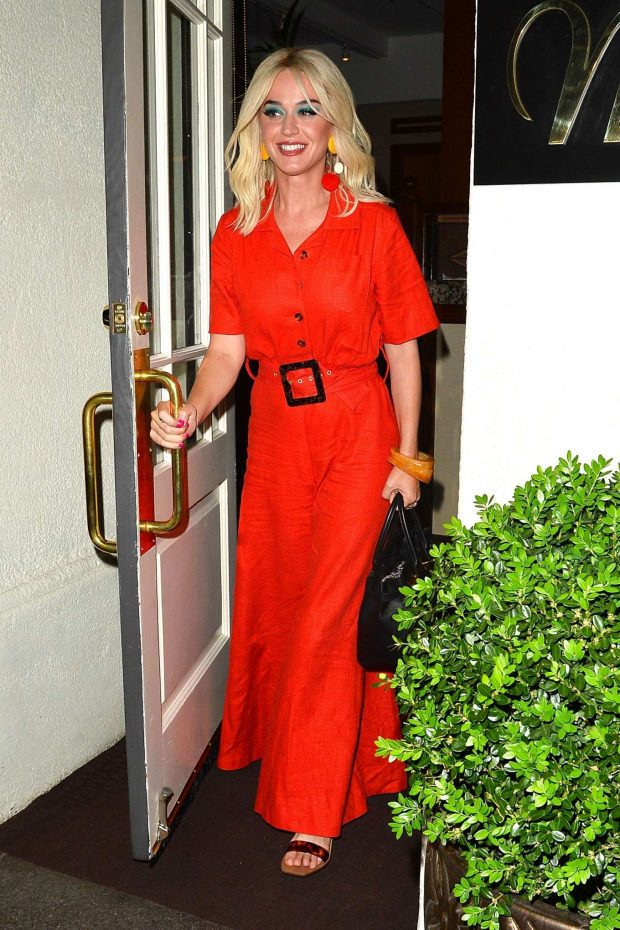 Katy Perry in Red Dress at Madeo restautant in Beverly Hills