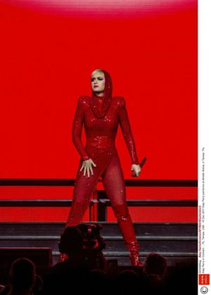 Katy Perry in Red - Performs at Amalie Arena in Tampa