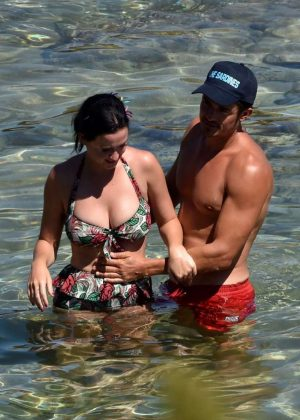 Katy Perry in Swimsuit at a Beach in Italy