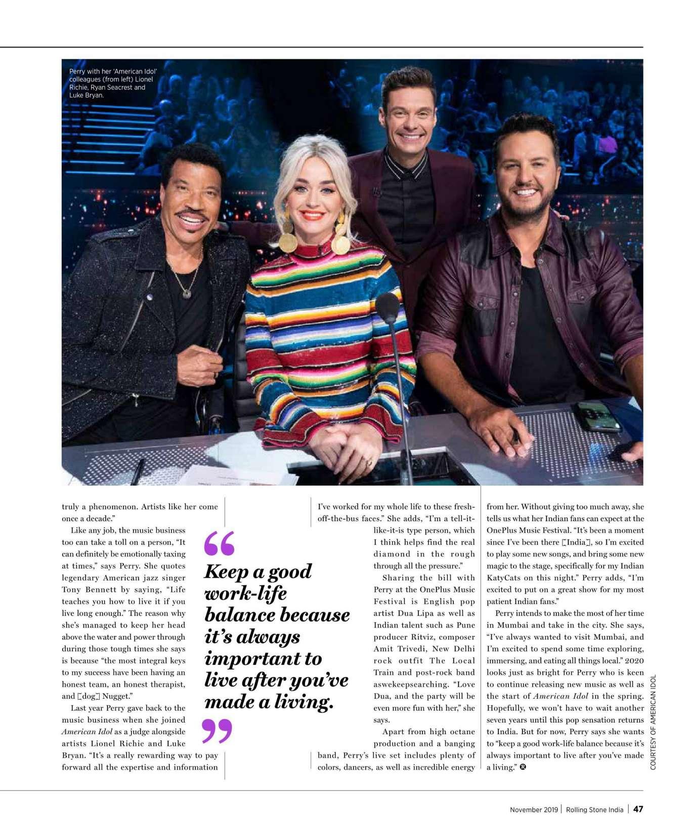 Katy Perry 2019 : Katy Perry – Rolling Stone Magazine (India – November 2019)-05