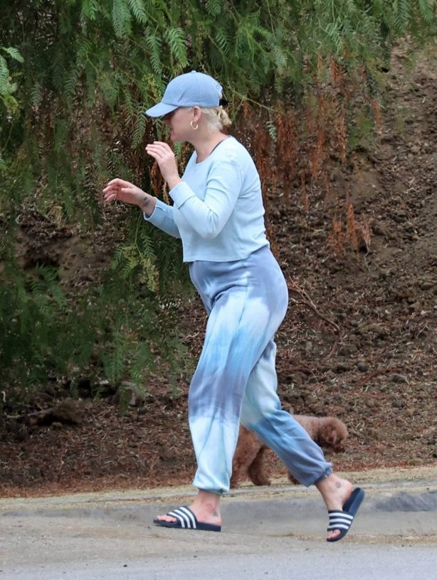 Katy Perry - With her pooch Nugget near her L.A. home