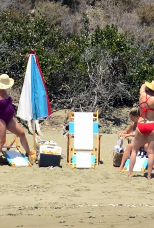 Katy Perry with Karlie Kloss - In bikinis on a beach in Santa Barbara