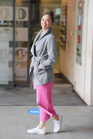 Katya Jones - Seen exits BBC Morning Live TV in London