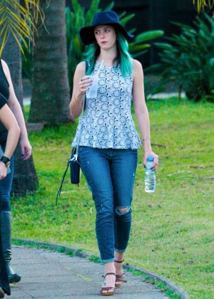 Kaya Scodelario in Jeans Out in Sao Paulo