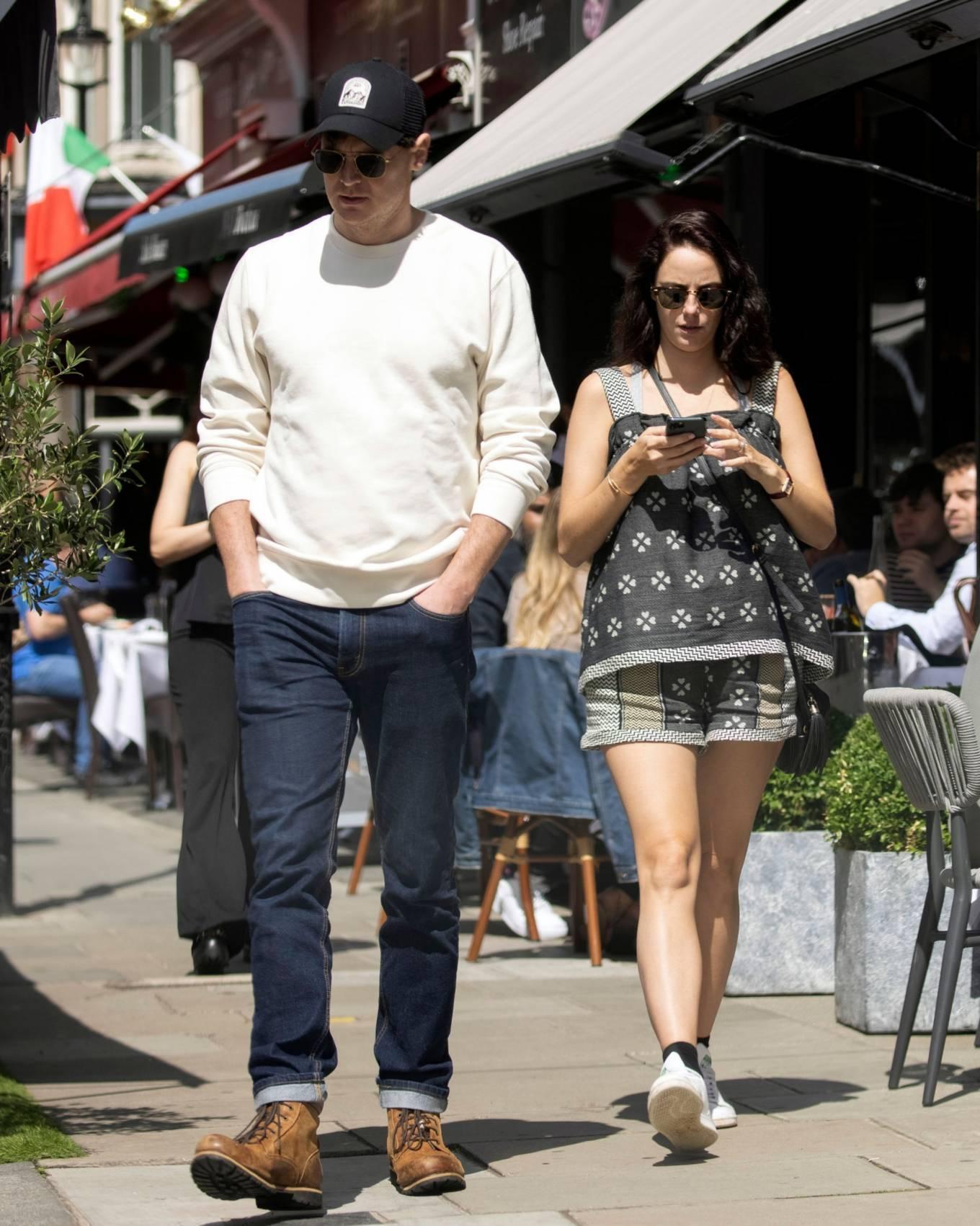 Kaya Scodelario - With her husband Benjamin Walker on street of London