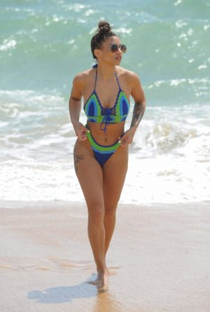 Kayleigh Morris in Bikini on Camber Sands beach