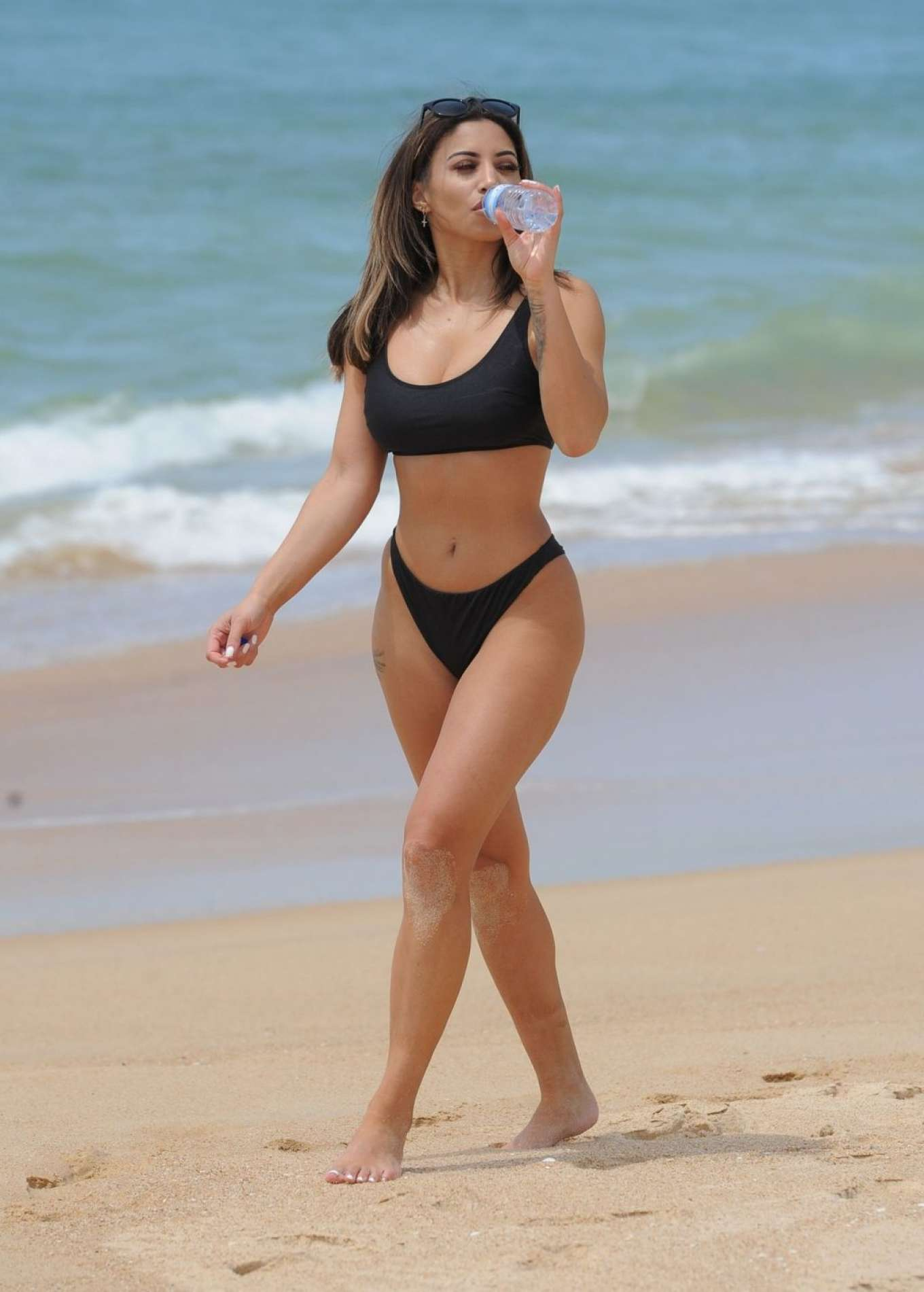 Kayleigh Morris in Black Bikini on the beach in Tenerife