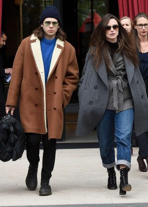 Keira Knightley and James Righton at the L' Reserve hotel in Paris