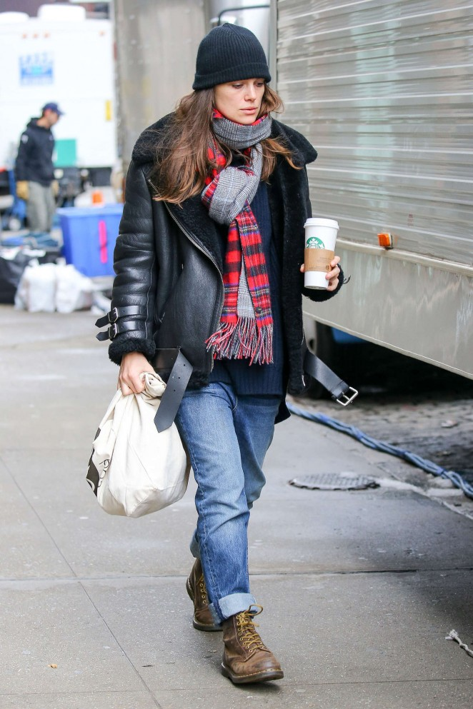 Keira Knightley - Arriving on the set for 'Collateral Beauty' in NYC