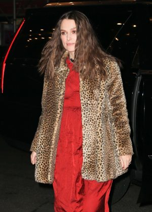 Keira Knightley in Animal Print Coat - Arriving at her hotel in NYC