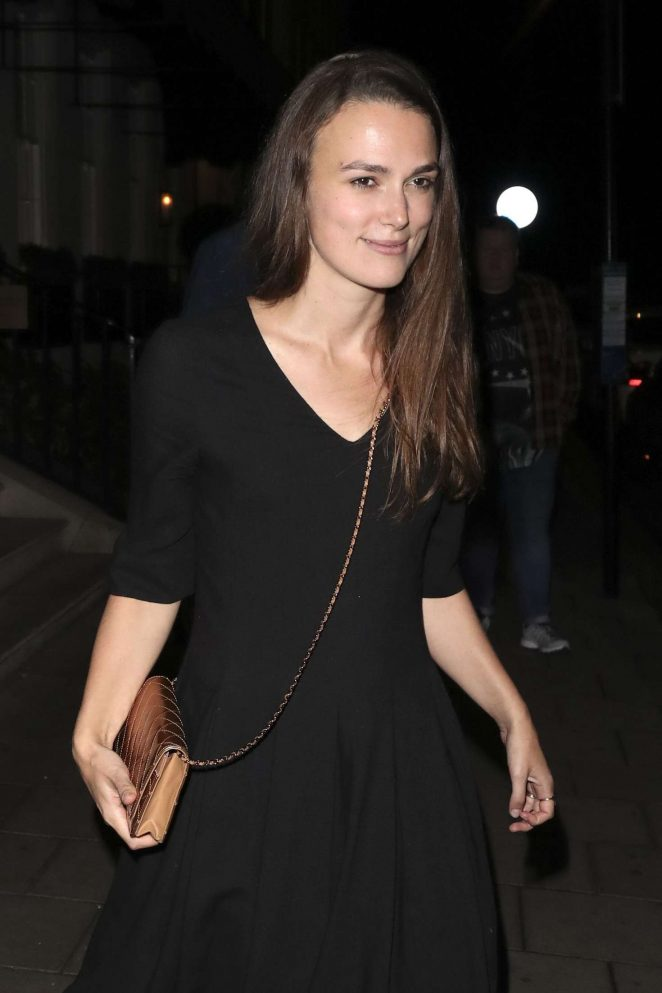 Keira Knightley in Black Dress at 34 Restaurant in London