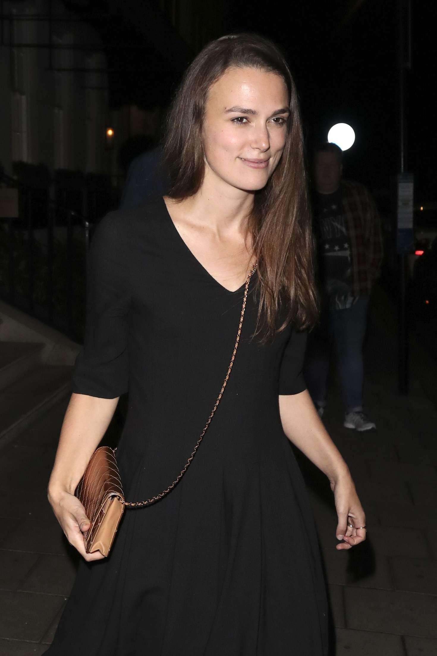Keira Knightley in Black Dress at 34 Restaurant in London